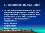 le syndrome de raynaud