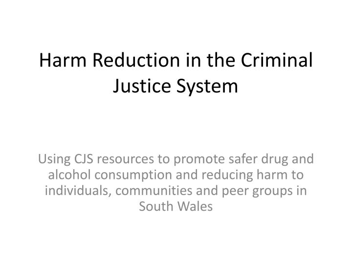 harm reduction in the criminal justice system n.