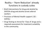 reality harm reduction already functions in custody suites