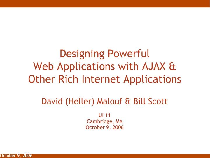 designing powerful web applications with ajax other rich internet applications n.