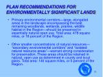plan recommendations for environmentally significant lands