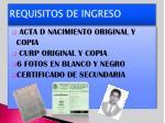 requisitos de ingreso