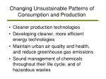 changing unsustainable patterns of consumption and production