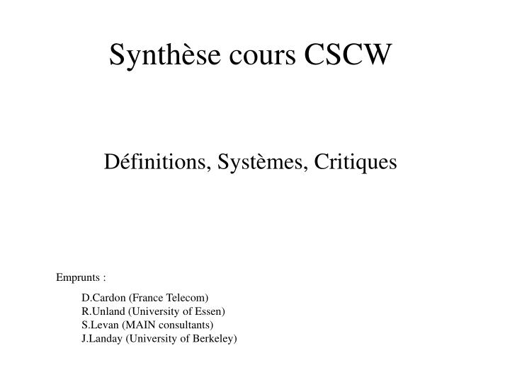 synth se cours cscw n.