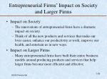 entrepreneurial firms impact on society and larger firms