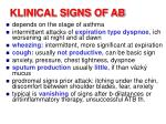 klinical signs of ab