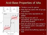 acid base properties of aas