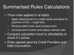summarised rules calculations