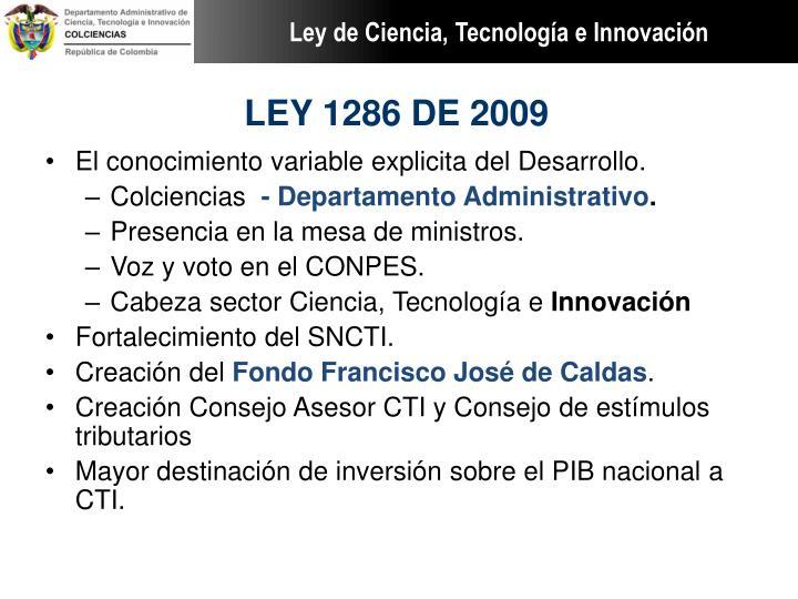 LEY 1286 DE 2009
