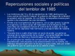 repercusiones sociales y pol ticas del temblor de 1985