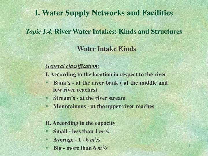 i water supply networks and facilities topic i 4 river water intakes kinds and structures n.