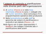 i sistemi di controllo e pianificazione nelle diverse parti dell organizzazione