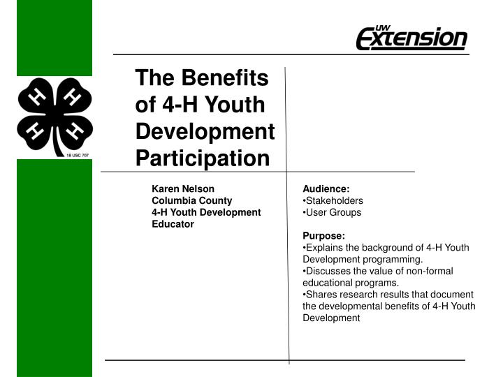 the benefits of 4 h youth development participation n.