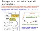 le algebre e certi vettori speciali detti radici1