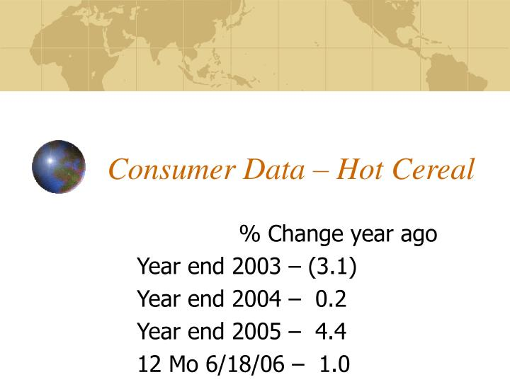 Consumer Data – Hot Cereal