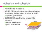 adhesion and cohesion