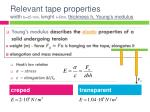 relevant tape properties width b 25 mm lenght l 50m thickness h young s modulus1