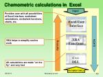 chemometric calculations in excel