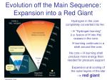 evolution off the main sequence expansion into a red giant