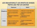 les obligations et les droits de chaque partie li e par un contrat