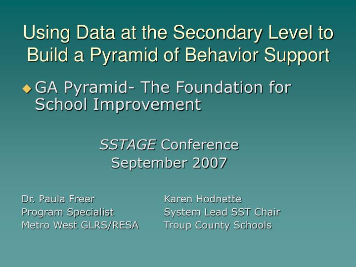 using data at the secondary level to build a pyramid of behavior support n.