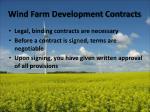 wind farm development contracts