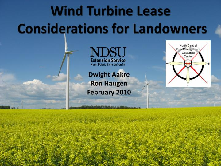 wind turbine lease considerations for landowners n.