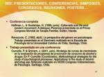 ref presentaciones conferencias simposios congresos reuniones posters