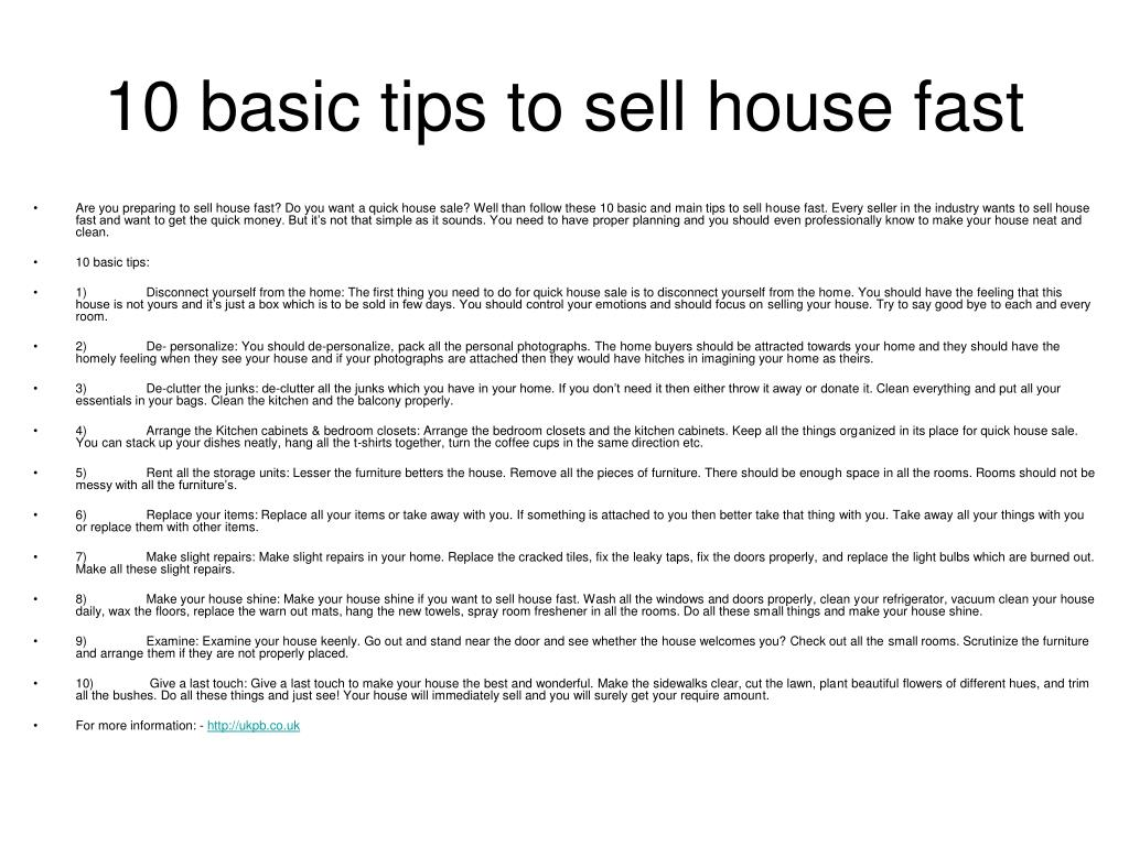 10 basic tips to sell house fast