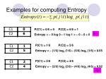 examples for computing entropy