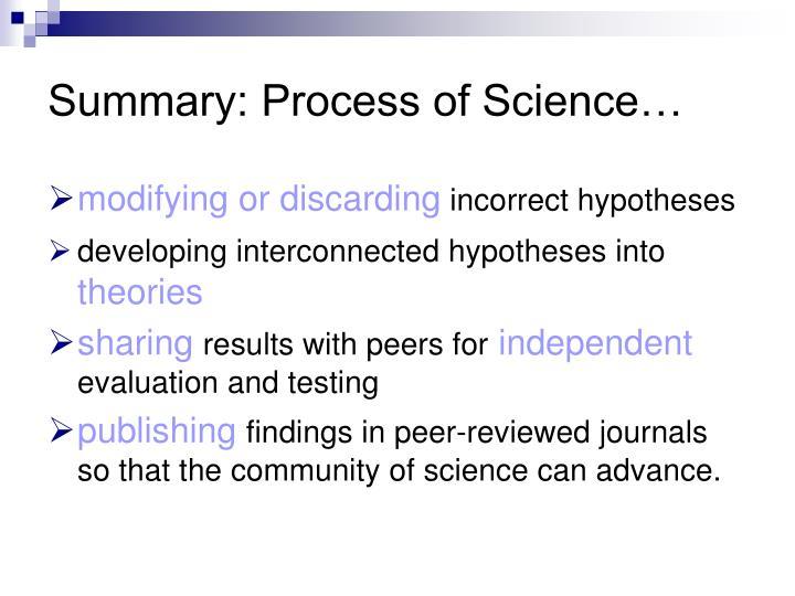 Summary: Process of Science…