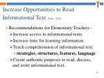 increase opportunities to read informational text duke 2004