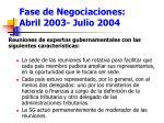 fase de negociaciones abril 2003 julio 2004