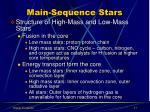 main sequence stars1
