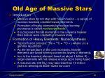 old age of massive stars