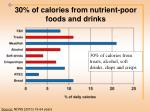 30 of calories from nutrient poor foods and drinks