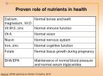 proven role of nutrients in health