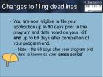 changes to filing deadlines
