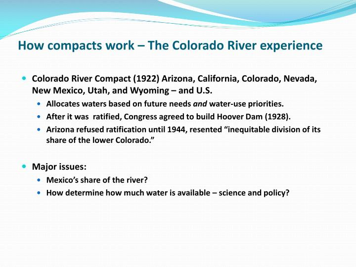 how compacts work the colorado river experience n.