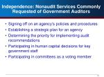 independence nonaudit services commonly requested of government auditors