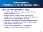 independence prohibited nonaudit services cont