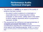 performance audits technical changes