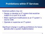 prohibitions within it services