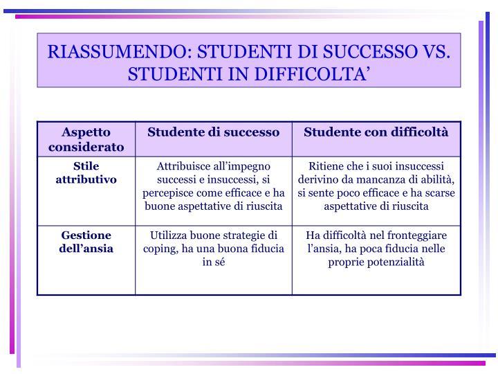 RIASSUMENDO: STUDENTI DI SUCCESSO VS. STUDENTI IN DIFFICOLTA'