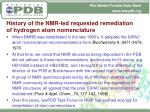 history of the nmr led requested remediation of hydrogen atom nomenclature