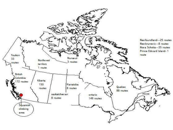 Geology and geographic location of popular us and canadian climbing areas