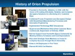 history of orion propulsion