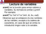 lectura de variables