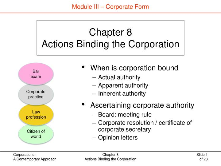 chapter 8 actions binding the corporation n.