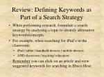 review defining keywords as part of a search strategy